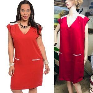 🆕️Red Short sleeve Plus Career dress
